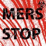 Segno sanguinoso di Mers Corona Virus di arresto della parete del fondo Illu di vettore Immagini Stock Libere da Diritti