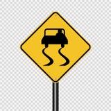 Segno sdrucciolevole del segnale stradale di simbolo su fondo trasparente illustrazione di stock