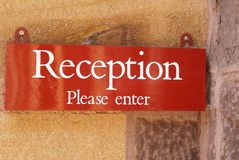 segno segno di ricezione la ricezione entra prego nel segno Immagini Stock