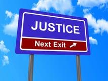 Segno seguente dell'uscita della giustizia Immagini Stock