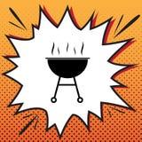 Segno semplice del barbecue Vettore Icona di stile dei fumetti sul backg di Pop art illustrazione di stock