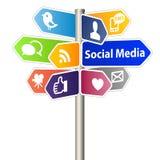 Segno sociale di media Fotografia Stock