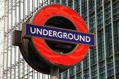 Segno sotterraneo di Londra Fotografia Stock