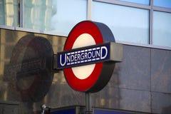 Segno sotterraneo di Londra Fotografie Stock