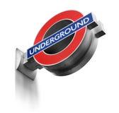 Segno sotterraneo di Londra isolato Fotografie Stock