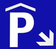 Segno sotterraneo di parcheggio Fotografia Stock