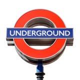 Segno sotterraneo famoso di Londra su bianco Fotografia Stock