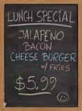 Segno speciale del menu del pranzo Fotografie Stock
