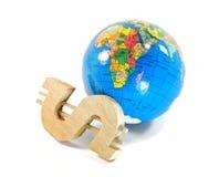 Segno sul dollaro e sul globo Fotografia Stock