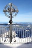 Segno sulla montagna di Zugspitze Fotografia Stock