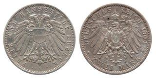 Segno tedesco due 1904 della moneta di argento della Germania Lubeck 2 immagine stock libera da diritti