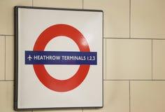 Segno terminale del treno di Heathrow Fotografia Stock