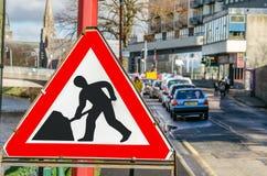Segno triangolare di lavori stradali Fotografia Stock Libera da Diritti