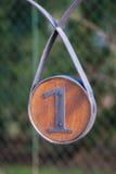 Segno uno - metallo di legno fotografia stock libera da diritti