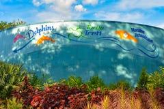 Segno variopinto del delfino, della tartaruga e del Manatee a Seaworld nell'area internazionale dell'azionamento immagini stock