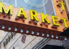 Segno variopinto del mercato Fotografie Stock