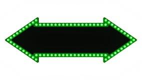 Segno verde del bordo della luce della tenda foranea della freccia retro su fondo bianco rappresentazione 3d Fotografia Stock