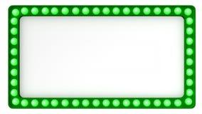 Segno verde del bordo della luce della tenda foranea retro su fondo bianco rappresentazione 3d Fotografia Stock