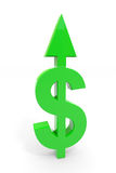 Segno verde del dollaro con la freccia in su. Fotografia Stock