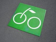 Segno verde della bicicletta Fotografia Stock Libera da Diritti