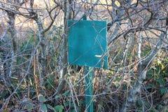 Segno verde piantato nella terra fotografia stock