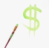 Segno verniciato del dollaro Fotografia Stock