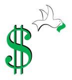 Segno-volo del dollaro assente Fotografia Stock