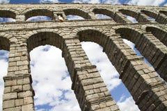 Segobia beroemd aquaduct in Spanje. Stock Foto's