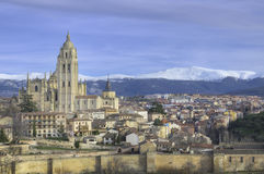 Segovia εικονική παράσταση πόλης. Διάσημο ισπανικό ορόσημο Στοκ εικόνα με δικαίωμα ελεύθερης χρήσης