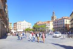 segovia 西班牙 都市的横向 广场市长 库存照片