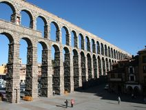 Segovia. Roman aqueduct in Spanish town of Segovia Stock Image