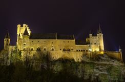 Segovia Alcazar Castle at night. Royal palace i Royalty Free Stock Photography