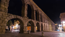 Segovia AquaDuct at night under street lights.  Royalty Free Stock Image