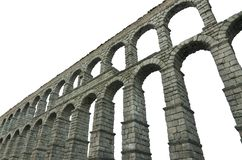 Segovia Aquaduct op wit geïsoleerd Beroemd Spaans Oriëntatiepunt als achtergrond Stock Fotografie