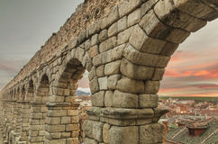 Segovia Aqueduct at dusk. Stock Image