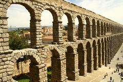 Segovia aqueduct. Aqueduct in Segovia in Spain Stock Photos