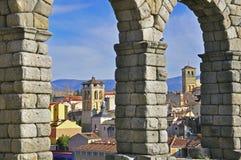 Segovia aqueduct. Segovia throught the aqueduct, Spain Stock Images