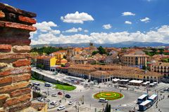 Segovia - Plaza de la Artilleria and the ancient city walls in the background stock images