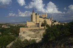 Segovia castle on the hill. Towers and walls. Segovia. Castile and Leon. Spain.  royalty free stock photography