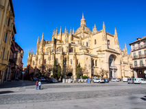 Segovia cathedral with blue sky Royalty Free Stock Image
