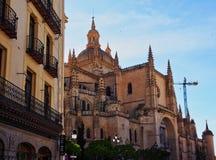 Segovia Cathedral, Segovia, Castile Leon, Spain. The Gothic style Segovia Cathedral, with historic apartment buildings, Segovia, Castile Leon, Spain stock image