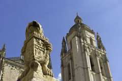 Segovia Cathedral. Low angle view of the front façade of the Cathedral of Segovia, located in the main square of the city, the Plaza Mayor, and dedicated to the Stock Images
