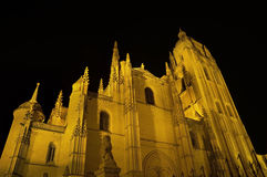 Segovia Cathedral at night. Famous Spanish Landmark Royalty Free Stock Photography