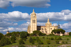 Segovia Cathedral, Spain. View of the facade of the Segovia Cathedral, Spain Stock Image