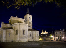 Segovia church with night illumination Royalty Free Stock Image