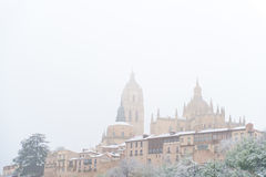 Segovia city and cathedral in the snow, Spain Royalty Free Stock Photos