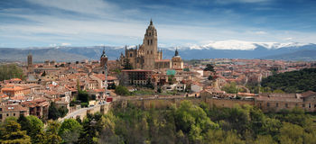 Segovia City - view from the Alcazar. The last Gothic cathedral built in world, in Segovia, In the background is the mountain Sierra de Guadarrama Spain stock images