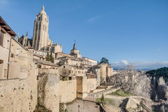 Segovia City walls at Castile and Leon, Spain Stock Image