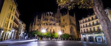 Segovia domkyrkafyrkant på natten royaltyfria bilder