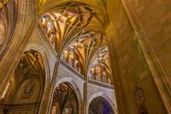 Segovia, España, diciembre, 15, 2018 Segovia, España Interior gótico de la catedral La catedral gótica pasada construida en Españ imagen de archivo